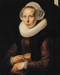 portrait of a lady in an embroidered burgundy bodice, with a white ruff and white cap, a glove in her right hand by werner van den valckert