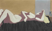 untitled (nude on bed) by milton avery