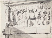 the triumph of titus: a relief from the arch of titus in rome by pieter van bloemen