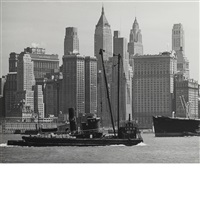 n.y. downtown manhattan and the hudson river by andreas feininger