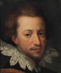 portrait of a gentleman, bust-length, in a black and brown coat with a lace collar by cornelis cornelisz van haarlem