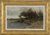 lakeshore landscape with rocks, trees, and distant hills by lawrence carmichael earle