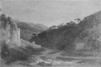 paisaje con montañas y río by doménico cambiaso