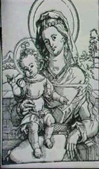 maria, das stehende jesuskind auf dem schoss... (geisberg- strauss 891-3, als hans von kulmbach) by hans (suess von) kulmbach