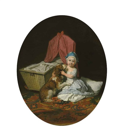 portrait of hester maria thrale, queeney (1764-1857), as a child, full-length, in a blue checked dress and white apron, and a blue pudding hat... by johann joseph zoffany