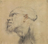 head of a bearded man, in profile, facing left by sir anthony van dyck