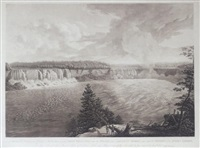 a distant view of the falls of niagara including both branches with the island and adjacent shores taken from the vicinity of the india ladder by john vanderlyn