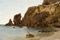 gutter på stranden, amalfi by thomas fearnley