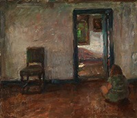 an interior with a girl sitting on the floor by julius paulsen
