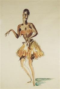 danseuse mangbetu, et indigène revenant du marché (2 works) by paul daxhelet