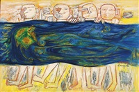 untitled (four swimmers) by laxman pai