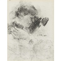 tete de femme and sketch of two figures : a double-sided work by james ensor