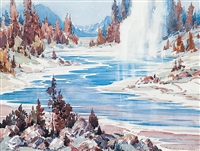 geyser, firehole river, yellowstone nat. park by alfred crocker leighton