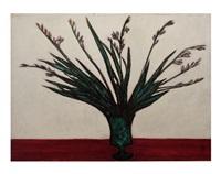 white gladioli in a veseude by sanyu