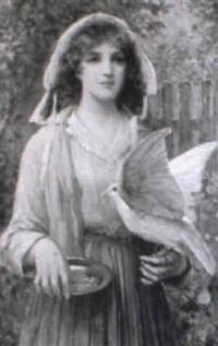 young lady feeding a dove in a garden by john scott