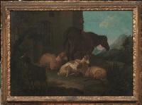 pecore, capra e cavallo in un paesaggio by francesco londonio