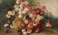 nature morte au bouquet d'oeillets et pensées dans un panier by alexis kreyder