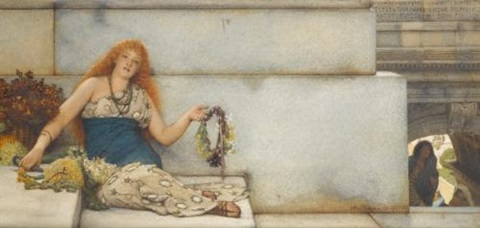 the garland seller (on the steps of the capitol, second version, spring flowers) by sir lawrence alma-tadema