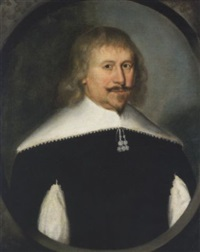 portrait of a gentleman in a slashed black doublet, with a white collar by gilbert jackson