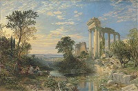 figures in a classical landscape by samuel bough