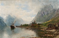 norway, mailboat in a fjord by anders monsen askevold