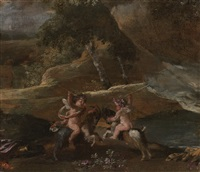 two putti fighting, mounted on goats by nicolas poussin