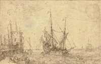 a seaport with a man o' war, figures along a pier by cornelis claesz van wieringen