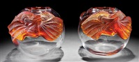 lizard frosted amber and clear glass vase (pair) by rené lalique