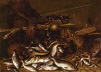 still life of fish, eels, and fishing nets by johannes fabritius