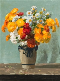 still life of marguerites and marigolds by george houston