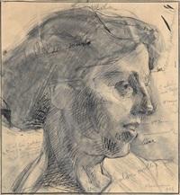 studio per evelina (studio di testa con annotazioni) by umberto boccioni