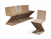 matched set of six zig zag chairs by gerrit thomas rietveld
