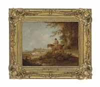 a man on horseback, out shooting with pointers, in a wooded landscape, a cottage beyond by george morland