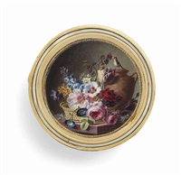 a floral still-life with flowers in a basket: roses, parrot tulip, delphinium, tobacco flowers, poppies, a bird's nest with eggs,... by cornelis van spaendonck