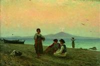 spielende kinder an der bucht von neapel by friedrich wilhelm albert dressler