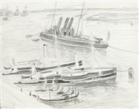 łodzie przy brzegu by stanislaw kamocki