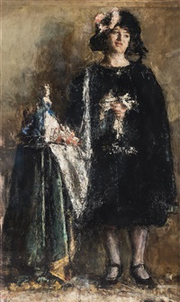 fanciulla in nero by antonio mancini