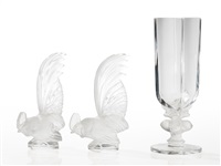 roosters and a vase with deer by rené lalique