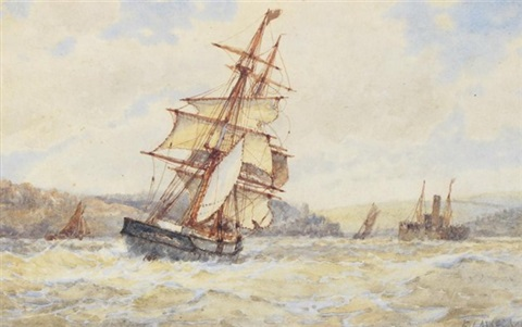 french fishing boats (+ off dartmouth; pair) by frederick james aldridge