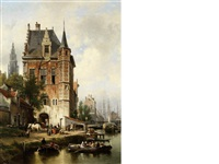 view of antwerp with the spire of onze-lieve-vrouwekathedraal in the background by jean (jan) michael ruyten