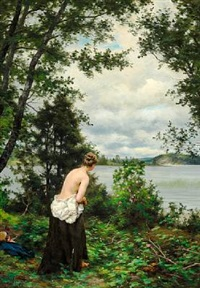 sommar. ved en vik ... åland (summer day with a young girl before the bath in an inlet in åland, sweden) by fredrik ahlstedt