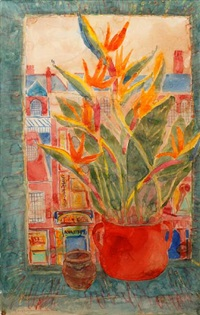 bird of paradise flowers and view of soho by norman adams