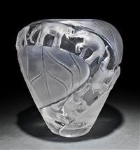 borneo frosted and clear crystal vases (pair) by rené lalique
