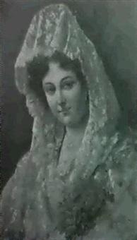 dama con mantilla y claveles by adolfo aguila acosta