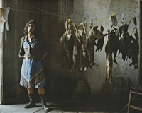 annette with rabbits (photographic still from the rape of the sabine women) by eve sussman