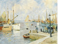 scène de port by paul emile lecomte