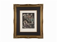 couple sur fond noir ii by marc chagall