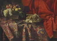 grapes, apples, a pomegranate and other fruit with sweetmeats on a wooden table draped with an anatolian 17th-century carpet by francesco fieravino (il maltese)