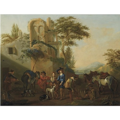 horsemen resting near a ruin accompanied by their hounds by jan miel