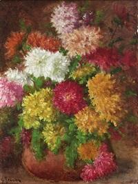 nature morte au bouquet de chrysanthèmes by georges jeannin